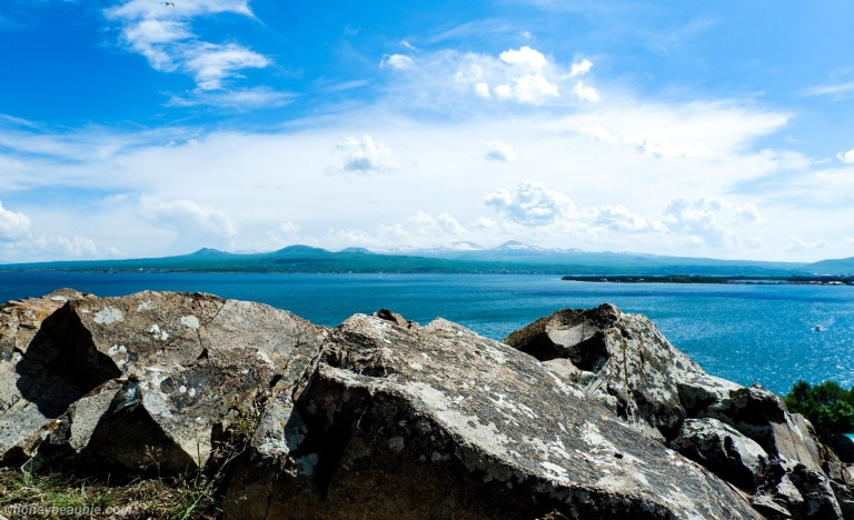 view of lake sevan from up the sevanavank monastery